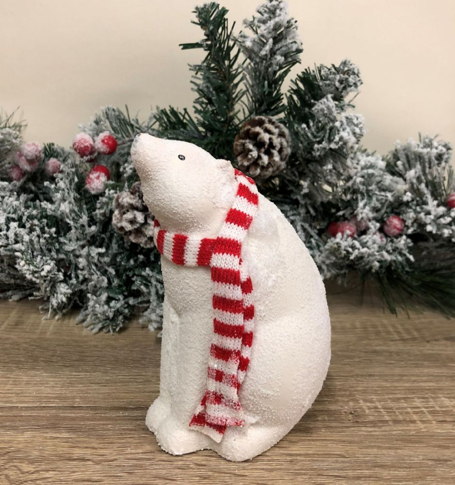 Snowy Polar Bear Baby with Red Scarf Christmas Ornament